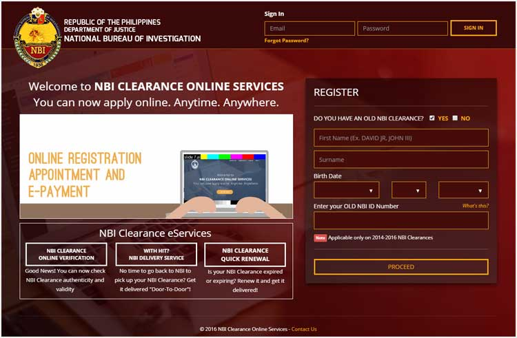 Step 1 - NBI Clearance Official Website