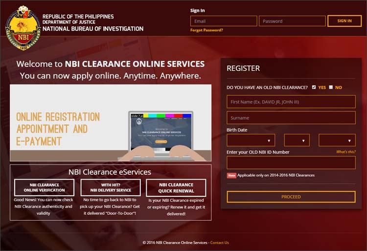 Step 1 - NBI Clearance Online Application Website