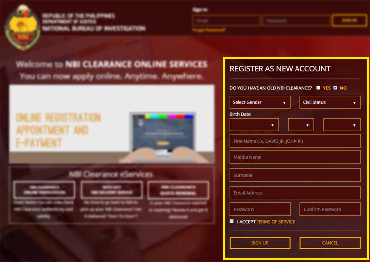 Step 2 - Register a New Account